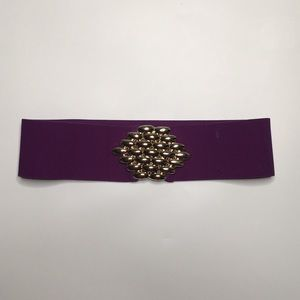 Accessories - Vintage Gold Buckle on Purple Elastic Belt